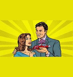 Man and woman car gift vector