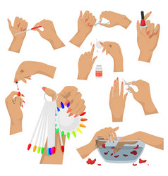 Manicure set hands and nails vector