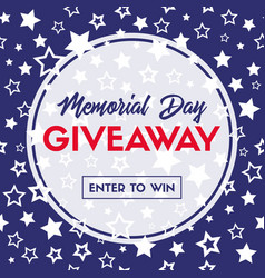 memorial day giveaway banner template vector image