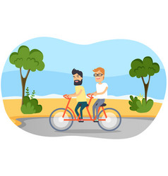 men in tandem pedal guys on bike for two vector image