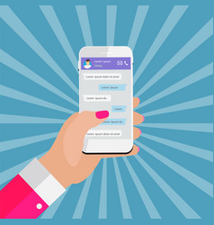 Mobile apps concept hand holding phone social vector