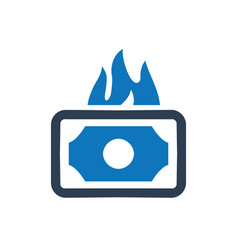money burning icon vector image