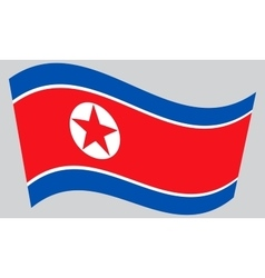 North Korean flag waving on gray background DPRK vector image