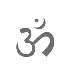 Om or aum indian sacred sound symbol mantra grey vector