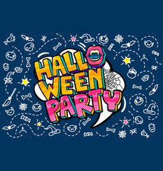 Open mouth and halloween party message vector