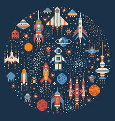 pixel art retro space adventure circle print vector image