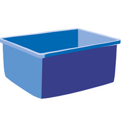 Plastic blue box isolated on white background vector