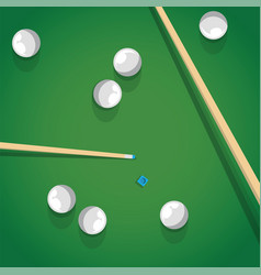 pool stick and balls on green billiard table while vector image