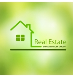 Real estate house on a green background vector image