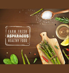 Realistic asparagus wood background vector