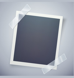retro photo frame attached with adhesive tape vector image