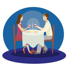 romantic family dinner valentines dinner flat vector image