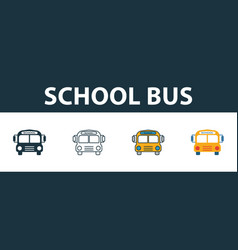 school bus icon set four elements in diferent vector image