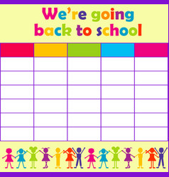 school timetable with stylized kids vector image