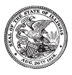 seal state illinois 1818 vintage vector image