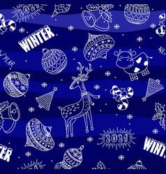 seamless doodle hand drawn christmas ball deer vector image
