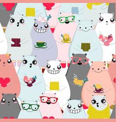 Seamless pattern cute animal cartoon vector
