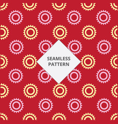 seamless pattern gear red and yellow color vector image