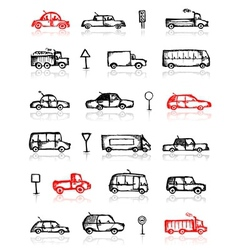 Set of cars sketch and traffic signs for your vector image