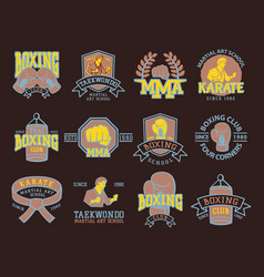 Set of cool fighting club emblems martial training vector