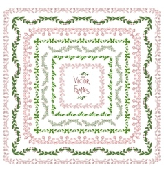 Set of decorative floral square frames vector
