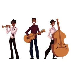 Set of handsome african male trumpet guitar and vector