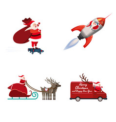 Set santa claus different types transport vector