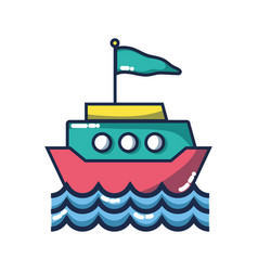 ship transportation with flag design and waves vector image