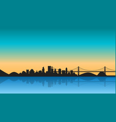 silhouette of city with reflection on sunrise vector image