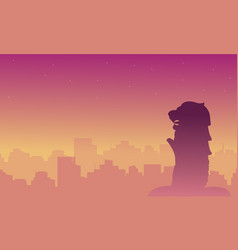 Silhouette of singapore city beauty landscape vector