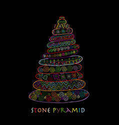 stone pyramid ethnic ornament sketch for your vector image