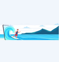 surfer man surfing on wave guy on surfboard summer vector image