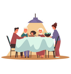 thanksgiving and christmas family dinner with vector image