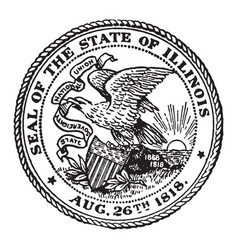 The seal of the state of illinois 1818 vintage vector