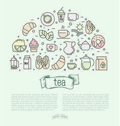 Thin line of tea tea vector