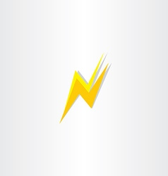 Thunder flash letter n icon logo vector