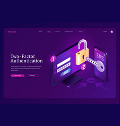 Two-factor authentication isometric landing page vector