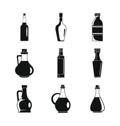 vinegar bottle icons set simple style vector image