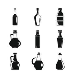 Vinegar bottle icons set simple style vector