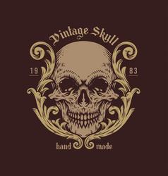 vintage skull handdrawn vector image