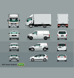 white color of the car in three positions four vector image