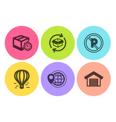 World travel delivery timer and no parking icons vector