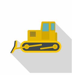Yellow bulldozer icon flat style vector
