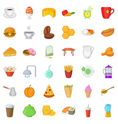 Yummy breakfast icons set cartoon style vector