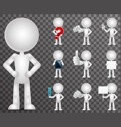3d blank character cartoon empty isolated icons vector image