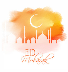 eid mubarak design on watercolour texture vector image vector image