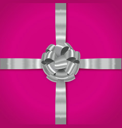 grey realistic bow with ribbons vector image
