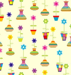 Seamless with spring colorful flowers in pots vector image vector image