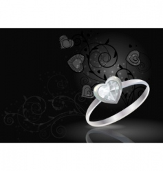 silver ring on black background vector image vector image