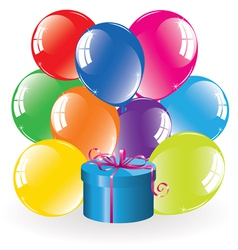 colorful balloons and a gift box vector image